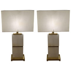 White Alabaster with Brass Trim Pair of Lamps, Netherlands, Contemporary