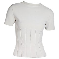 White Alaia Stretch Short-Sleeve Top