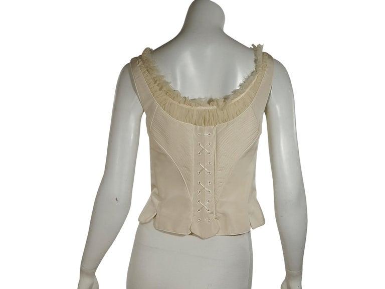 Brown White Alexander McQueen Silk Corset Top For Sale
