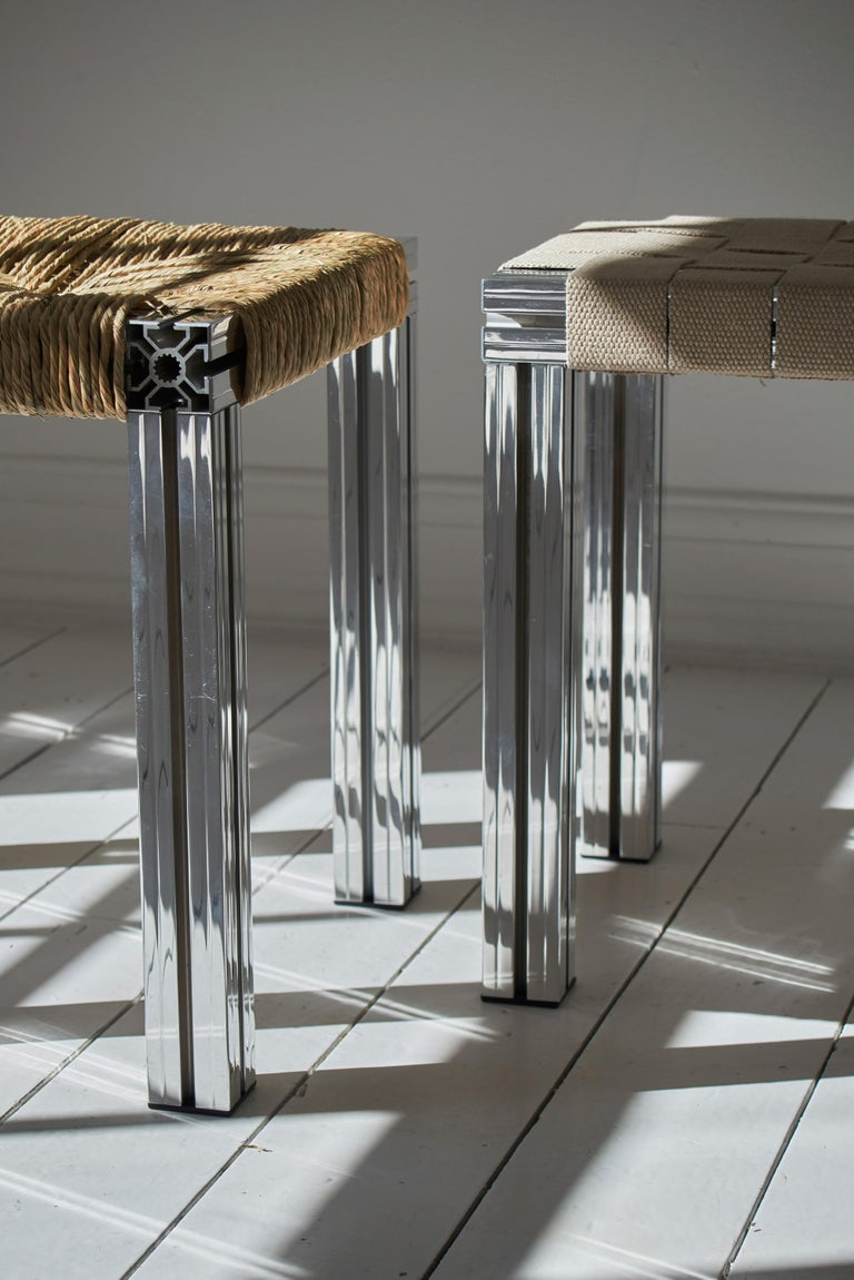 White Aluminium Stool with Lapping Cane Seating from Anodised Wicker Collection For Sale 6