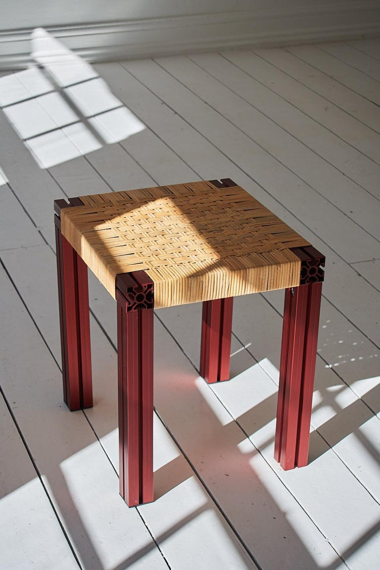 Powder-Coated White Aluminium Stool with Lapping Cane Seating from Anodised Wicker Collection For Sale