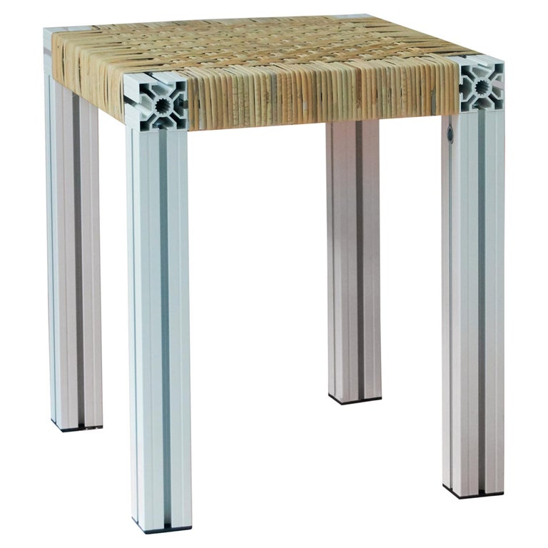 White Aluminium Stool with Lapping Cane Seating from Anodised Wicker Collection For Sale