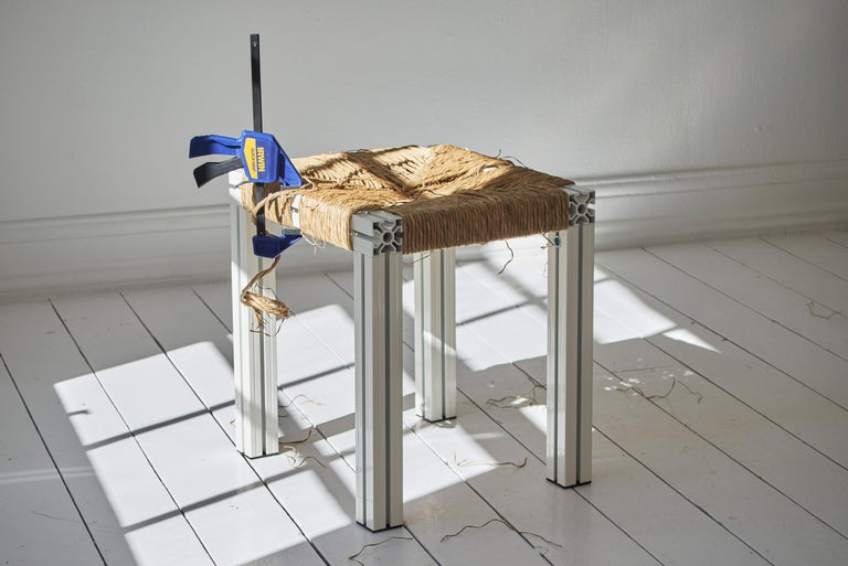 For the exhibition 'Giles Round: The Director' at the Hepworth Gallery in Wakefield, Tino Seubert realised a bench and stool from a new furniture series inspired by Donald Judd and Børge Mogensen. Anodised Wicker marries industrially extruded and