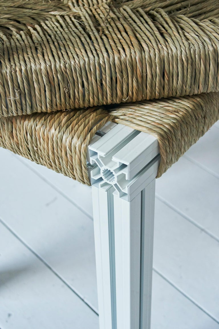British White Aluminium Stool with Reel Rush Seating from Anodized Wicker Collection For Sale