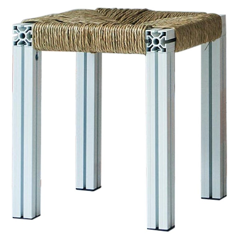 White Aluminium Stool with Reel Rush Seating from Anodized Wicker Collection For Sale