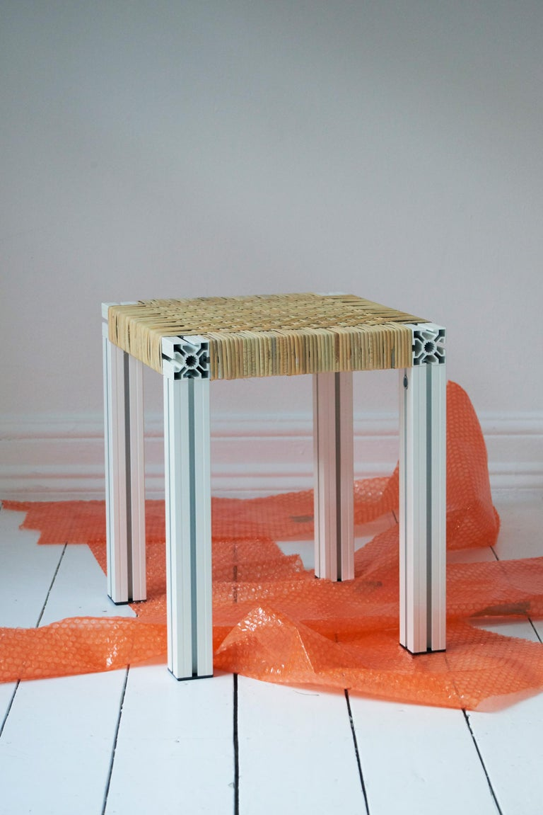 Aluminum White Aluminium Stool with Reel Rush Seating from Anodized Wicker Collection For Sale