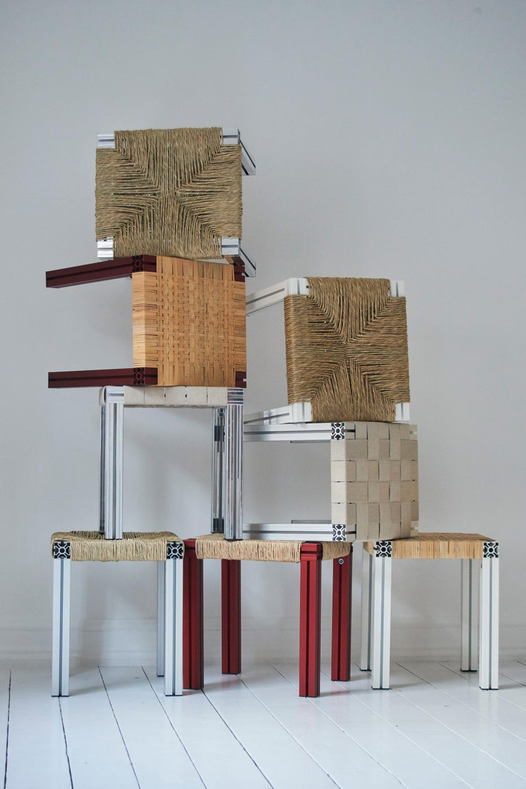 Contemporary White Aluminium Stool with Reel Rush Seating from Anodized Wicker Collection For Sale
