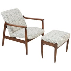 White and Aqua Vintage Armchair and Stool, Edmund Homa, 1960s