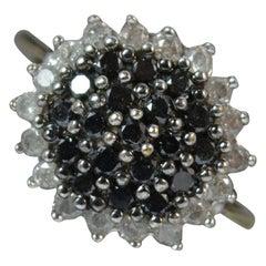 White and Black 0.50 Carat Diamond 9 Carat Gold Bling Cluster Ring