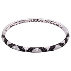 White and Black Diamond Gold Bangle Bracelet