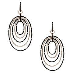 White and Black Diamond Multi Oval Drop Hoop Earrings