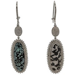 White and Black Diamond Turquoise Gold Drop Earrings