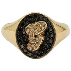 White and Black Diamonds, 18 Karat Yellow Gold Personalized Ring