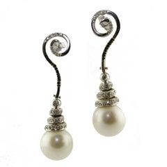 White and Black Diamonds Australian Pearls White Gold Earrings