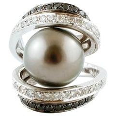 White and Black Diamonds, Grey South Sea Pearl, White Gold Ring