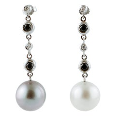 White and Black Diamonds, White and Grey South-Sea Pearls 18 Karat Gold Earrings