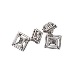 White and Black Diamonds White Gold Cufflinks