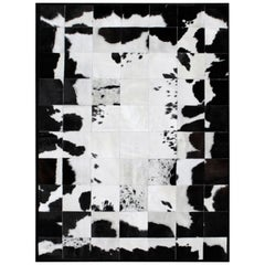 White and Black High End customizable Rompecabeza Cowhide Area Floor Rug Large