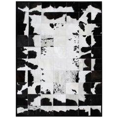 White and Black High End customizable Rompecabeza Cowhide Area Floor Rug Small