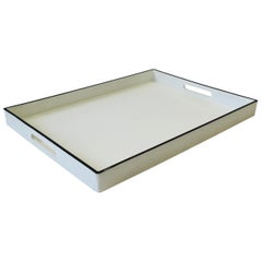 White and Black Lacquer Serving Tray