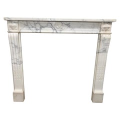 White and Black Marble Fireplace