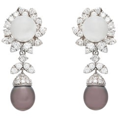 White and Black Pearl Clip-On Diamond Earrings