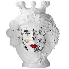 White and Black Sicilian Vase, Designed by Stefania Boemi