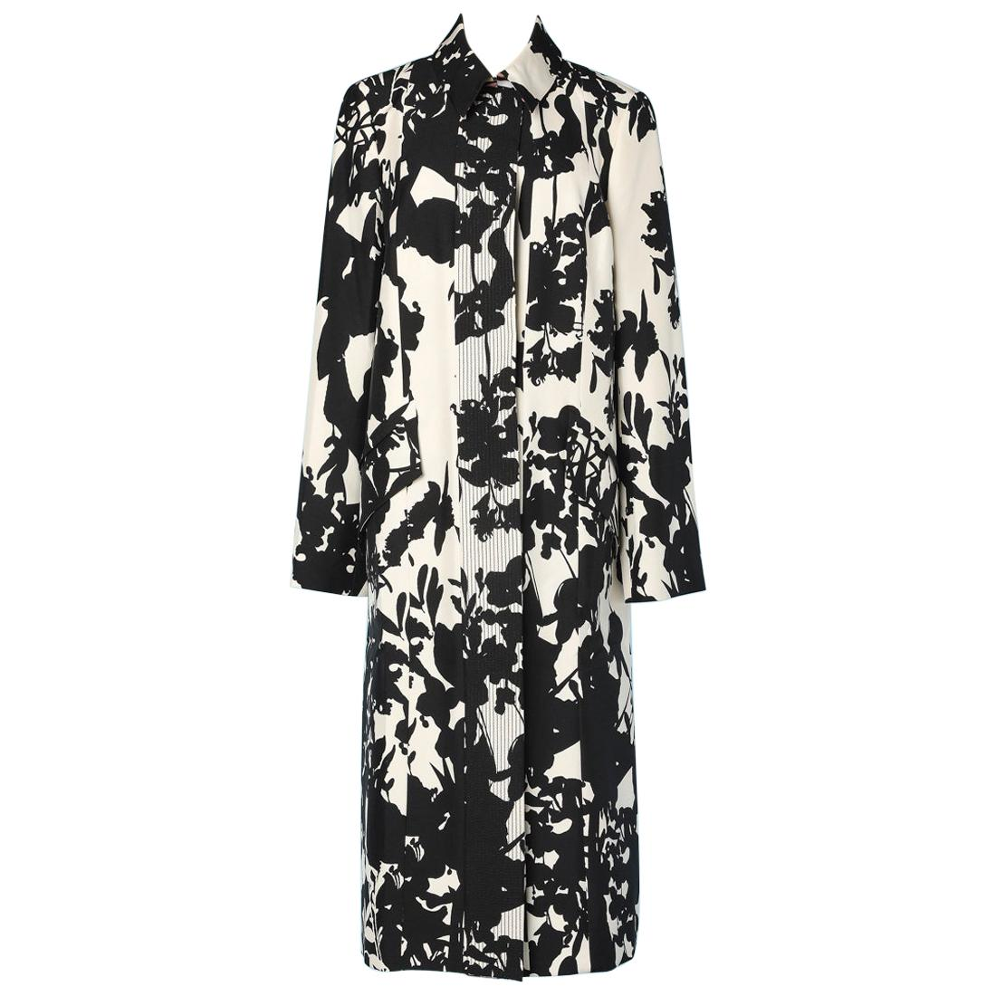 White and black silk vintage coat with Christian Lacroix print