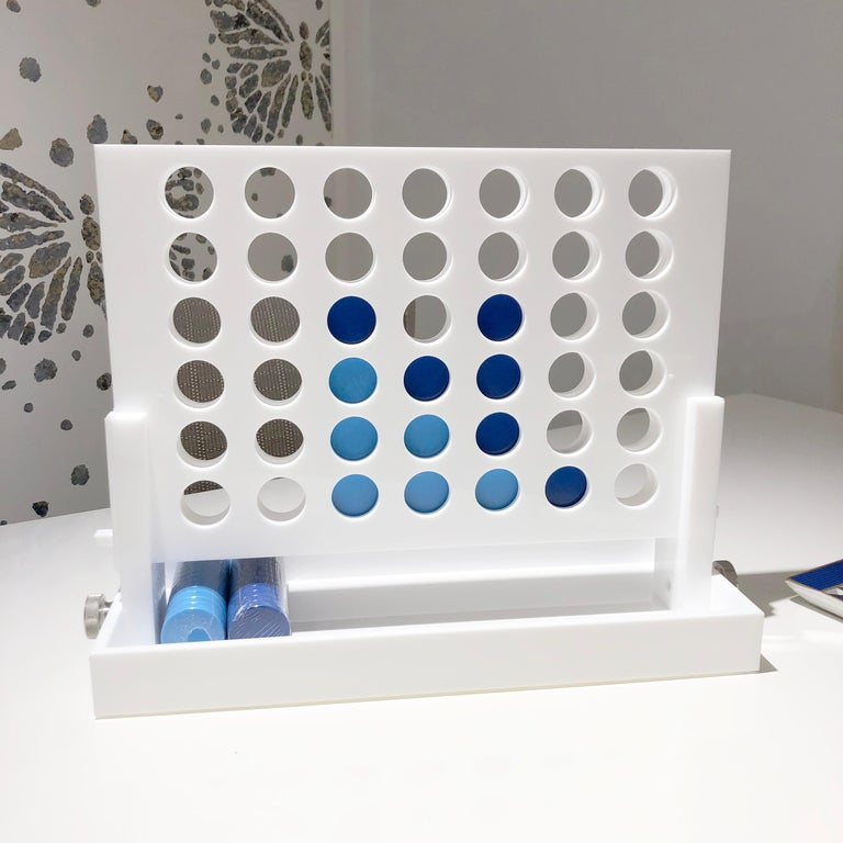 Modern White and Blue Acrylic Connect Four Game