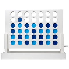 White and Blue Acrylic Connect Four Game