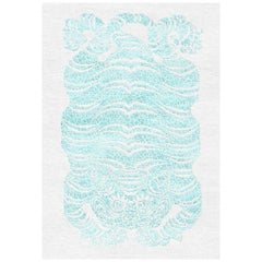 White and Blue Handmade Wool and Silk Rug from Tiger Collection by Gordian