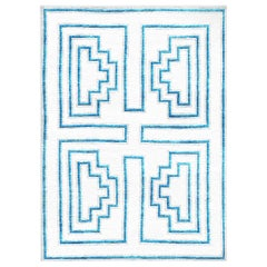 White and Blue Handwoven Wool and Silk Rug from Labyrinth Collection by Gordian