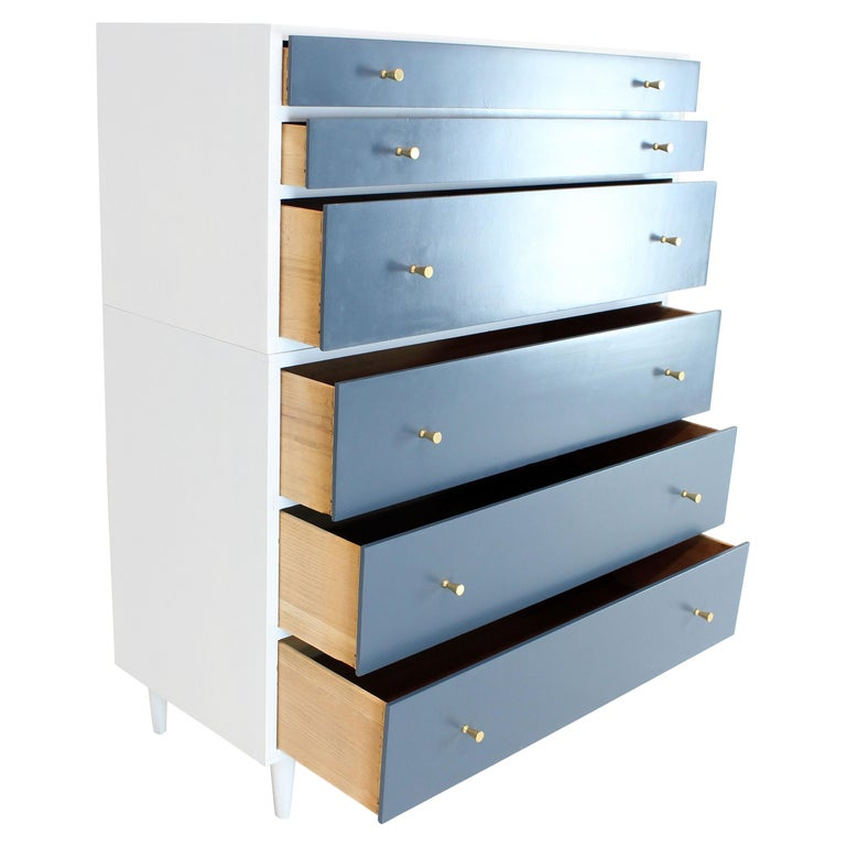 White And Blue High Chest On Two Pieces Mccobb Dresser Cabinet Six Drawers For