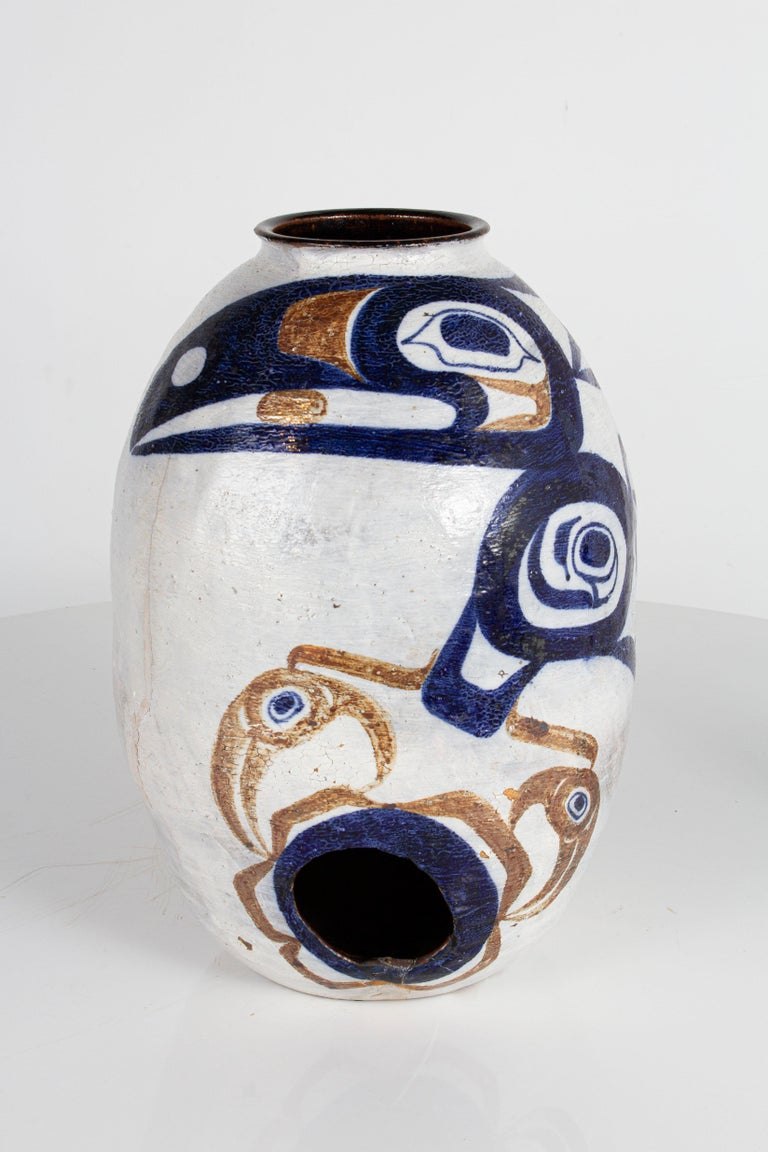 Bohemian White and Blue Pottery For Sale