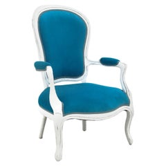 White and Blue Shabby Chic Armchair
