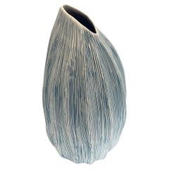 White and Blue Thin Striped Vase, Thailand, Contemporary