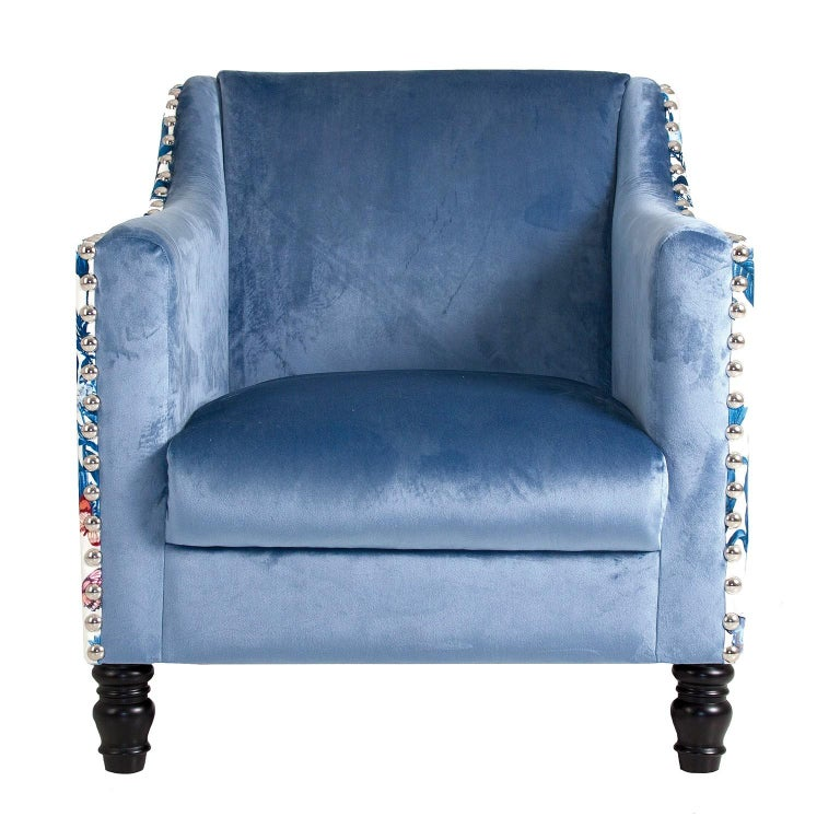 White and Blue Velvet Armchair For Sale at 1stdibs