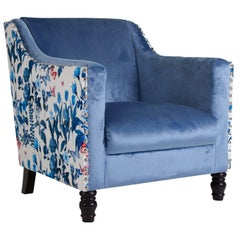 White and Blue Velvet Armchair