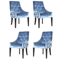 White and Blue Velvet Flowers Set of Four Dining Armchairs