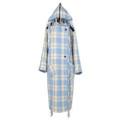 White and blue wool tartan coat with hood Jean-Charles de Castelbajac