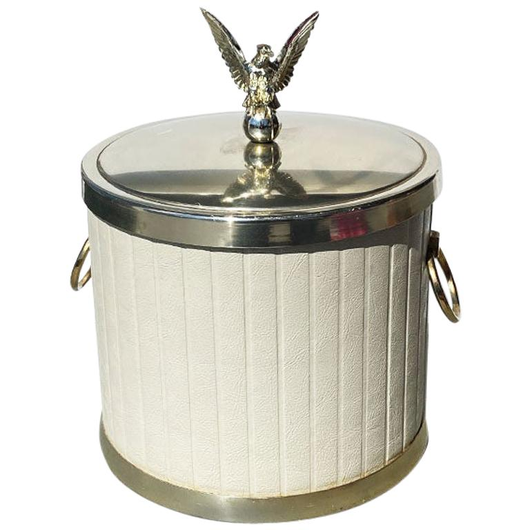 White and Brass Channel Upholstered Eagle Ice Bucket with Eagle Handle