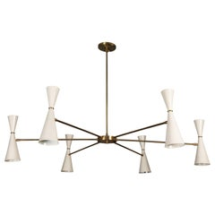 White and Brass Radial Chandelier by Lawson-Fenning