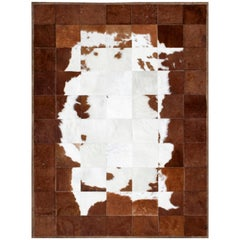 White and Brown Classic Peaceful Customizable Tranquilo Cowhide Area Rug X-Large