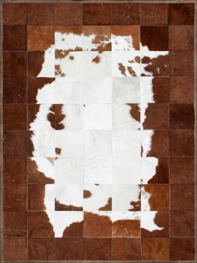 Argentine White and Brown Classic Peaceful customizable Tranquilo Cowhide Area Rug Large For Sale