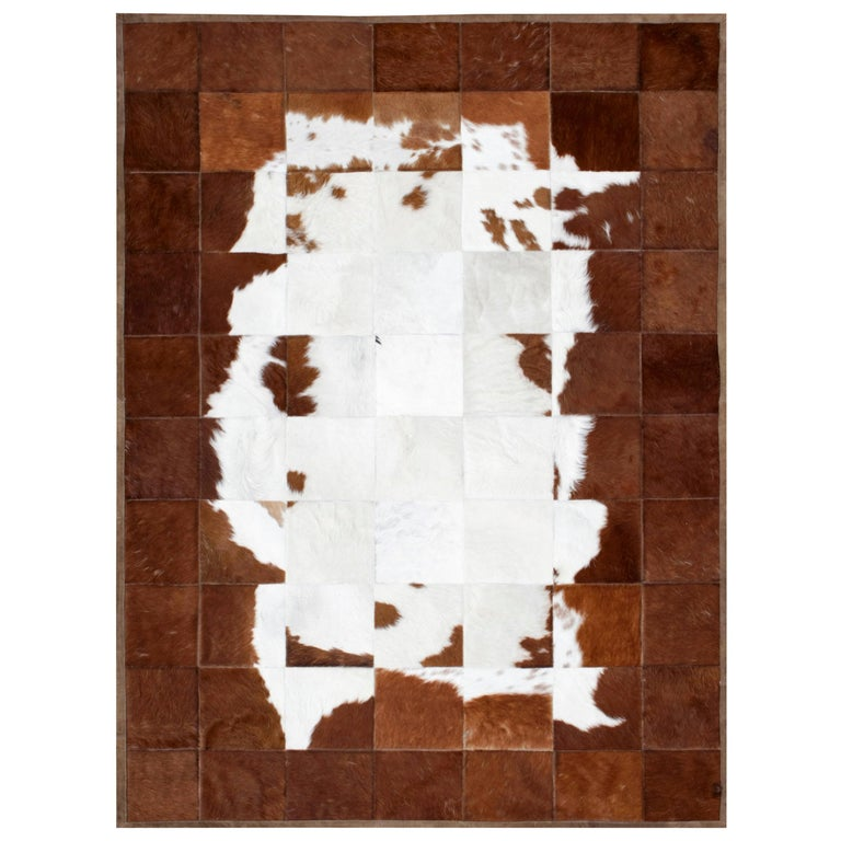 White and Brown Classic Peaceful customizable Tranquilo Cowhide Area Rug Large For Sale