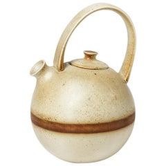 White and Brown Design Porcelain Tea Pot by Laroussinie for Virebent, 1970