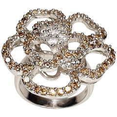 White and Brown Flower Engagement Ring in 18 Karat White Gold