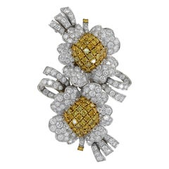 White and Canary Diamond Blossom 18 Karat Gold Double Floral Clip Brooch