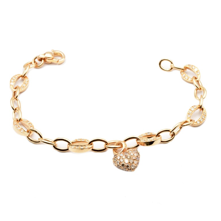 Contemporary White and Champagne Diamonds Heart Charm Bracelet Rose Gold Made in Italy For Sale