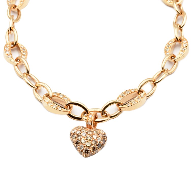 White and Champagne Diamonds Heart Charm Bracelet Rose Gold Made in Italy In New Condition For Sale In Valenza, AL